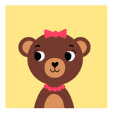 Cute cartoon bear girl on yellow background. Simple drawing young bear girl on isolated background vector illustration