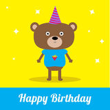 Cute cartoon bear with hat. Happy Birthday party card. Royalty Free Stock Images