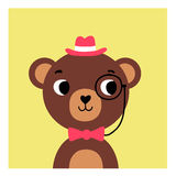 Cute cartoon bear hipster. Simple drawing young bear boy on isolated background vector illustration