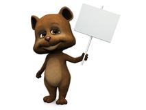 Cute cartoon bear holding blank sign. Royalty Free Stock Photo