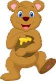 Cute cartoon bear holding honey pot. Illustration of Cute cartoon bear holding honey pot Stock Photography