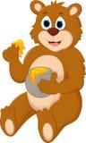 Cute cartoon bear holding honey pot Royalty Free Stock Photography