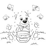 Cute cartoon bear with honey and bees. Dot to dot game Stock Image