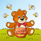 Cute cartoon bear with honey and bees. Vector illustration of cute cartoon bear with honey and bees Royalty Free Stock Photos