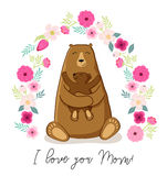 Cute cartoon bear with its baby, Mother`s day card Stock Images