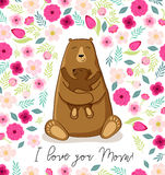 Cute cartoon bear with its baby, Mother`s day card Royalty Free Stock Images