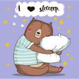 Cute cartoon bear with pillow Royalty Free Stock Image