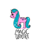 Cute cartoon , beautiful magic pony princess character, vector kids illustration isolated on white. Royalty Free Stock Photo