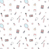 Cute cartoon beauty mix seamless pattern background illustration with cream, make up, mirror and tools Stock Photo