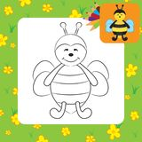 Cute cartoon bee. Coloring page Stock Photo