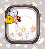Cute cartoon bee in frame Stock Photos
