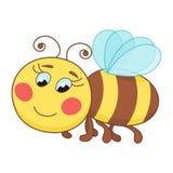 Cute cartoon bee, funny ruddy bee flying Royalty Free Stock Photo