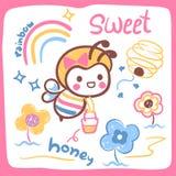 Cute cartoon bee girl. Cartoon bee girl carrying honey bucket on white background illustration vector Stock Photos