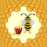 A cute cartoon bee with a honey pot and honeycombs Royalty Free Stock Photo