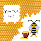 A cute cartoon bee with a honey pot surrounded by  Royalty Free Stock Photography