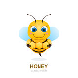 Cute cartoon bee with honeycombs,  vector illustration. Royalty Free Stock Images