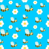 Cute cartoon bee seamless illustration pattern Royalty Free Stock Photography