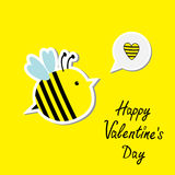 Cute cartoon bee and speech bubble with heart. Hap Stock Photo