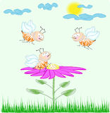 Cute cartoon bees on the flower Royalty Free Stock Photos