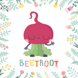 Cute cartoon beetroot illustration with flowers and lettering. Stock Photography