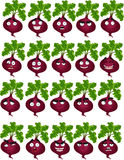 Cute cartoon beetroot smile with many expressions Stock Photos