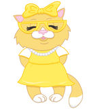 Cute cartoon beige kitten Royalty Free Stock Photography