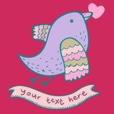 Cute cartoon bird in. Cute romantic cartoon bird in Stock Photos