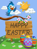 Cute Cartoon Bird on the branch wishing happy Easter meadow Royalty Free Stock Images