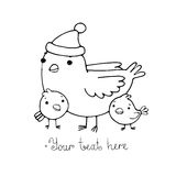 Cute cartoon Bird with chicks in the hat. Stock Image
