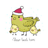 Cute cartoon Bird with chicks in the hat. Stock Images