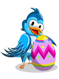 Cute cartoon bird decorated easter egg isolated Royalty Free Stock Image