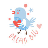 Cute cartoon bird with heart. Dream big colorful hand drawn vector Illustration Stock Image