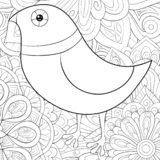 Adult coloring book,page a cute bird on the abstract background image for relaxing.Zen art style illustration. A cute cartoon bird image on the floral abstract royalty free illustration