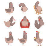 Cute cartoon bird set, funny bird character with different actions and emotions vector Illustrations Stock Photos