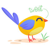 Cute cartoon bird singing. Vector illustration of a bird icon isolated. Royalty Free Stock Image