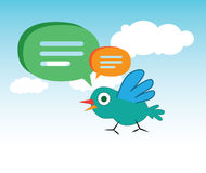 Cute Cartoon Bird and Speech Bubbles Royalty Free Stock Photos