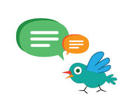 Cute Cartoon Bird with Speech Bubbles Royalty Free Stock Images