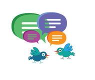 Cute Cartoon Bird with Speech Bubbles Royalty Free Stock Photography