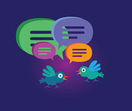 Cute Cartoon Bird with Speech Bubbles Stock Photo