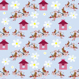 Cute cartoon birds and birdhouse seamless pattern Stock Photos