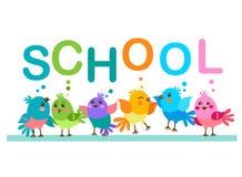 Cute Cartoon Birds. Birds And The Word School. School Theme. Royalty Free Stock Photography
