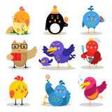 Cute cartoon birds in different situations, colorful characters vector Illustrations Stock Photography