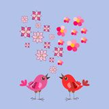 Cute cartoon birds and flowers heart. Valentine`s Day. Greeting card. Wedding invitation Royalty Free Stock Photo
