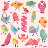 Cute cartoon birds set Royalty Free Stock Images