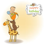 Cute cartoon birthday greeting card Stock Image