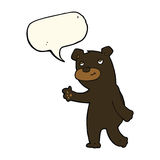 Cute cartoon black bear with speech bubble Royalty Free Stock Image