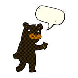 Cute cartoon black bear with speech bubble Royalty Free Stock Photography