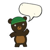 Cute cartoon black bear with speech bubble Royalty Free Stock Images