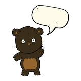 Cute cartoon black bear with speech bubble Royalty Free Stock Photo