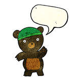 Cute cartoon black bear with speech bubble Royalty Free Stock Photos